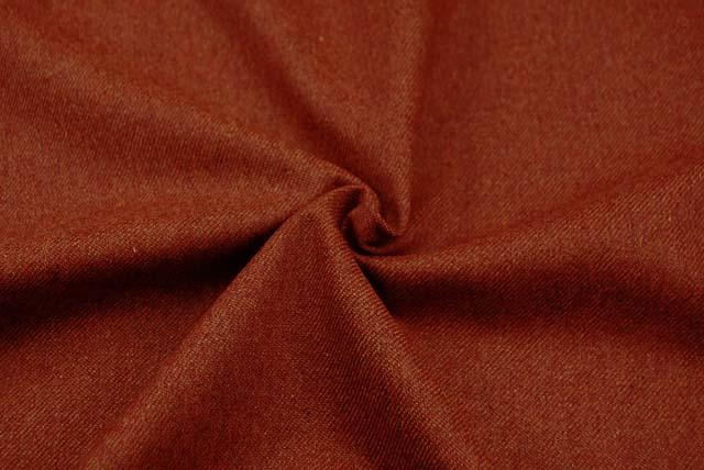 綾織りのフラノ服地 れんが色 【50cm販売】  (4143-77)