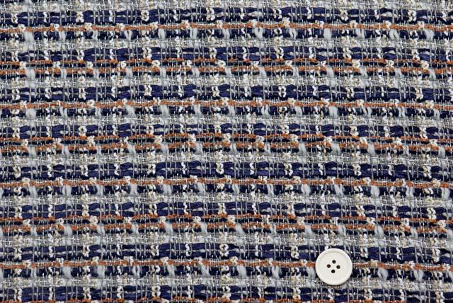 イタリー製ラメ入りファンシーツイード服地 紺・グレーなど 【50cm販売】  (4148-18)