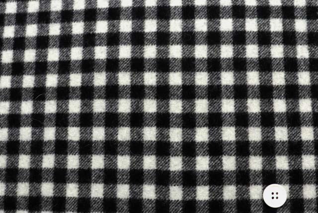 シングルメルトン・ギンガムチェック服地 黒×白 《凄安》【50cm単位】  (4148-28)