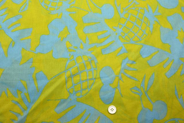 コットン80ローンプリント生地  黄色地×水色 (4151-09)