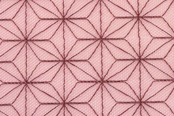 人気の和柄シリーズ ポリエステルネット 麻の葉柄 くすんだピンク