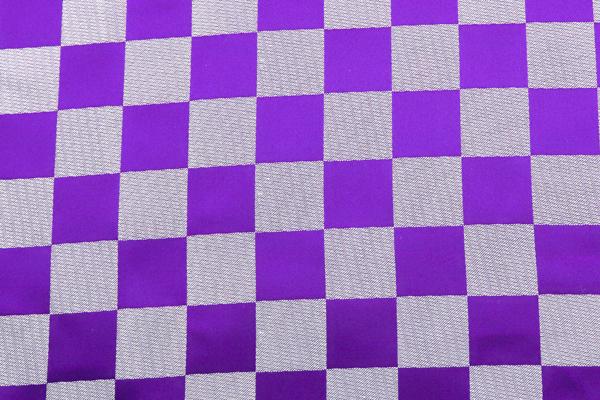 よさこいや舞台衣装に最適な 光沢感のある素材 サテンジャガード 市松格子 紫×銀