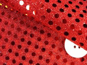 スパンコール(生地・布)ラメ・スパンコール生地 レッド(赤色)(6602-54)