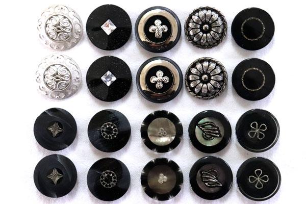 メーカー廃番品 ヴィンテージ ジルコニア入 アンティークボタン ブラック×ゴールド系3 (23~25mm10組 20個)
