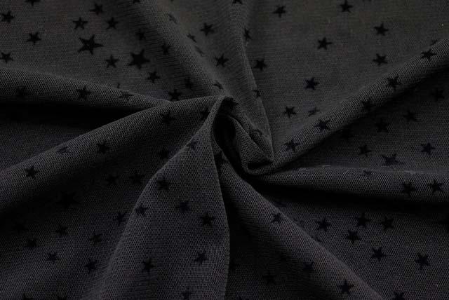 パワーネットフロッキープリント生地  星柄 黒地×黒  【50cm単位】《再値下げ》  (la606)