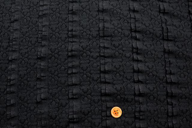Wピンタックラッセルレース生地 花柄 黒 【50cm単位】(la663)