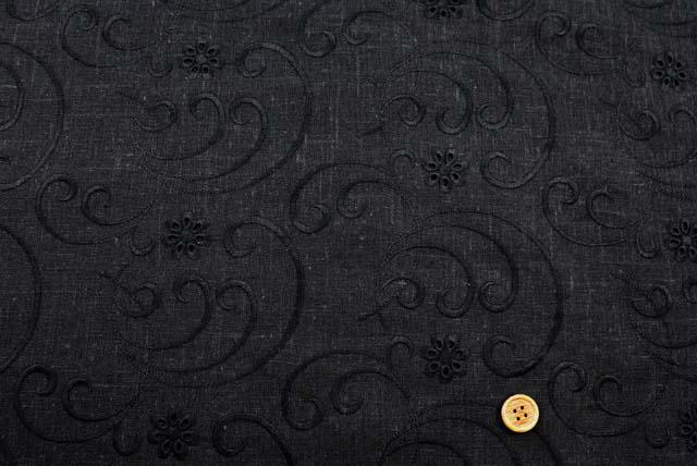麻混の刺しゅうレース生地 (ニット生地ではありません) 黒地×黒 【50cm単位】 (la717)
