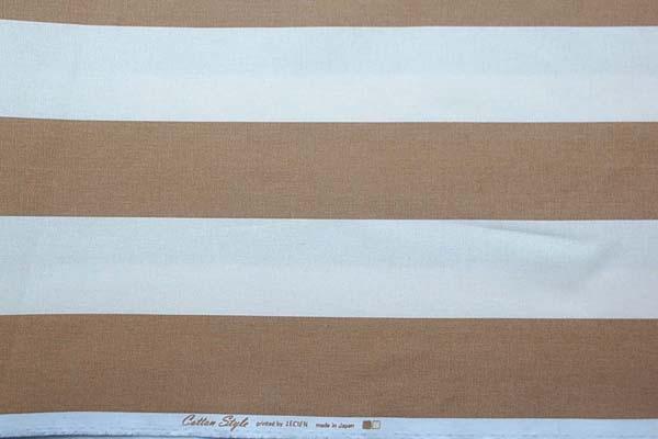 ルシアンのコットンスタイル 10番オックスフォードプリント生地 7cmボーダー ベージュ