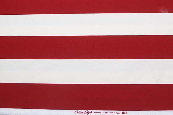 ルシアンのコットンスタイル 10番オックスフォードプリント生地 7cmボーダー 濃い赤 0504-51