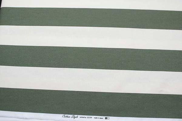 ルシアンのコットンスタイル 10番オックスフォードプリント生地 7cmボーダー カーキグリーン 0504-52
