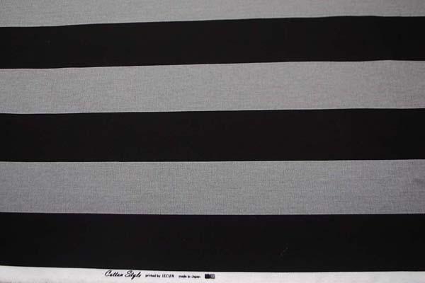 ルシアンのコットンスタイル 10番オックスフォードプリント生地 7cmボーダー 黒×グレー 0504-54