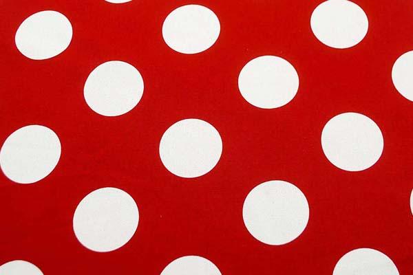 ルシアンのコットンスタイル 10番オックスフォードプリント生地 約7cm水玉 赤(臙脂)
