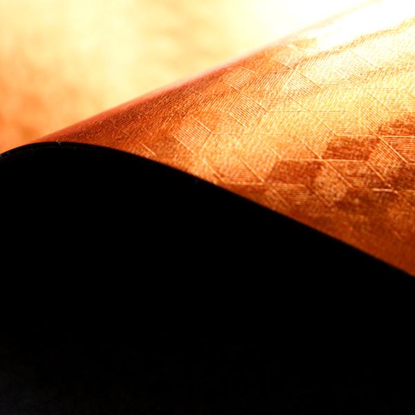 3D風のフェイクレザー オレンジゴールド