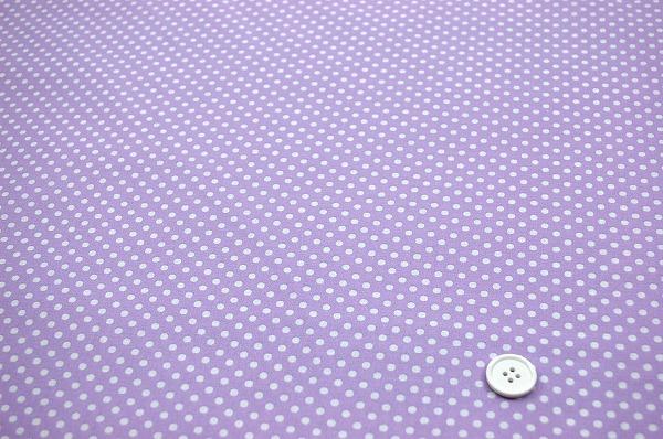 お洒落な水玉 ルシアンのドット柄 LECIEN 生地 ラベンダー色×ホワイト(0620-01)
