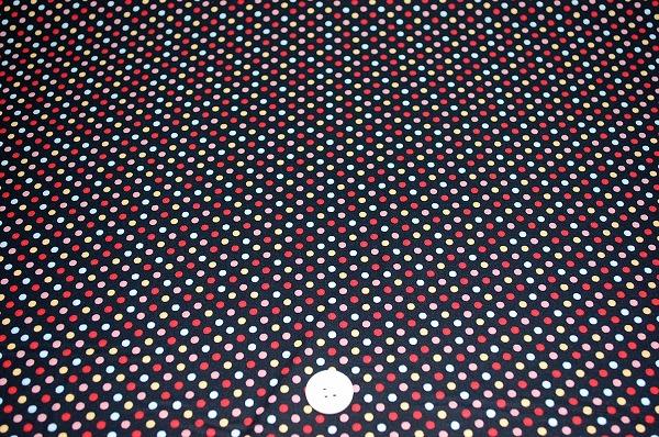 お洒落な水玉 ルシアンのドット柄 LECIEN 生地 3mm 黒色地 ラブリーなドット(0620-04)