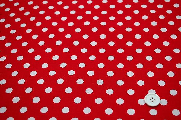 お洒落な水玉 ルシアンのドット柄 10mm 情熱の赤色・ヒーローのレッド(0620-22)