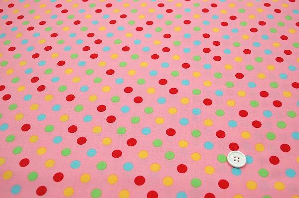 お洒落な水玉 ルシアンのドット柄 10mm ピンク色地 ラブリーなドット(0620-25)