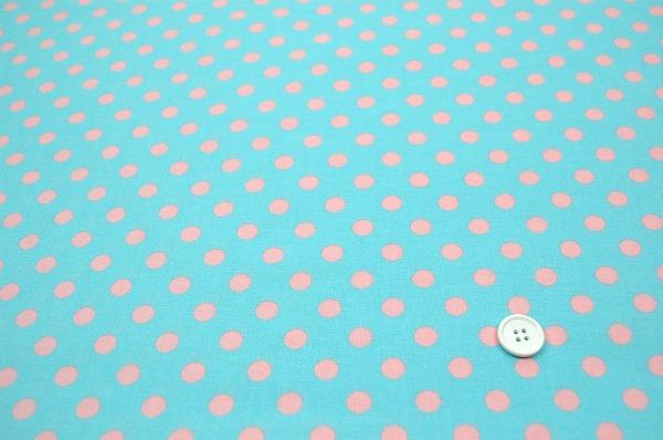 お洒落な水玉 ルシアンのドット柄 10mm ピンク色に水色地 ラブリーなドット(0620-26)