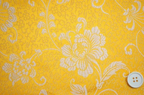 チャイナ・ブロケード(羽根と牡丹・黄色 金色)