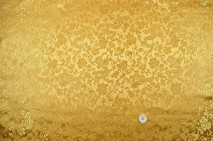チャイナドレス生地 中国民族衣装生地 竜と牡丹 金色・ゴールド(0635-12)