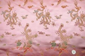 チャイナドレス生地 中国民族衣装生地 竜と鳳凰 ピンク色(0635-28)
