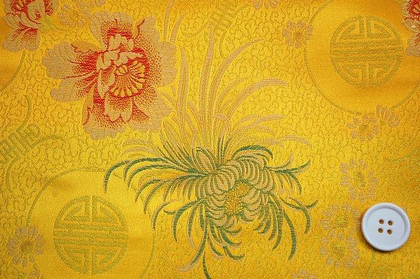 チャイナ・ブロケード(菊・牡丹・寿文様・黄色 金色)