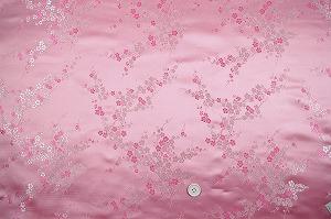 チャイナドレス生地 中国民族衣装生地 梅柄 ピンク色(0635-77)