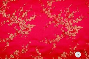 チャイナドレス生地 中国民族衣装生地 梅柄 赤色・レッド(0635-79)
