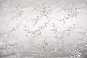 チャイナドレス生地 中国民族衣装生地 梅柄 白色・ホワイト(0635-82)