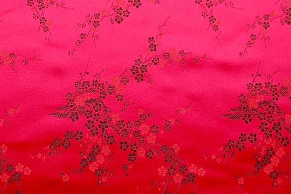 チャイナドレス生地 中国民族衣装生地 梅 赤地に黒