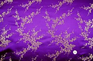 チャイナドレス生地 中国民族衣装生地 梅柄 紫色・パープル(0635-85)