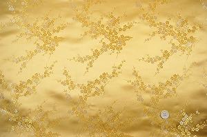 チャイナドレス生地 中国民族衣装生地 梅柄 金色・ゴールド(0635-86)