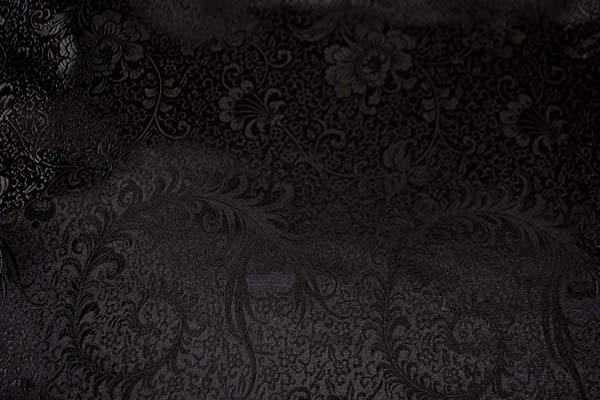 チャイナドレス生地 中国民族衣装生地羽根と牡丹・黒地に黒 0635-94