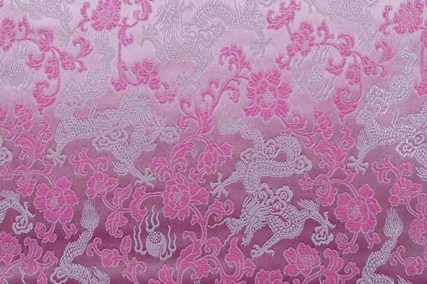 チャイナドレス生地 中国民族衣装生地 竜と牡丹 ピンク