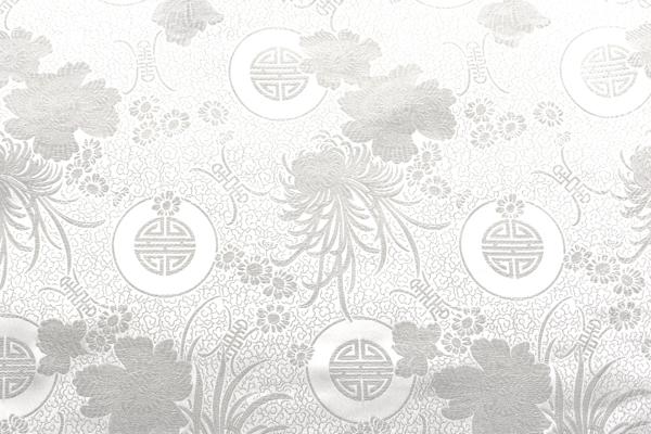 チャイナドレス生地 中国民族衣装生地 菊・牡丹・寿文様 白