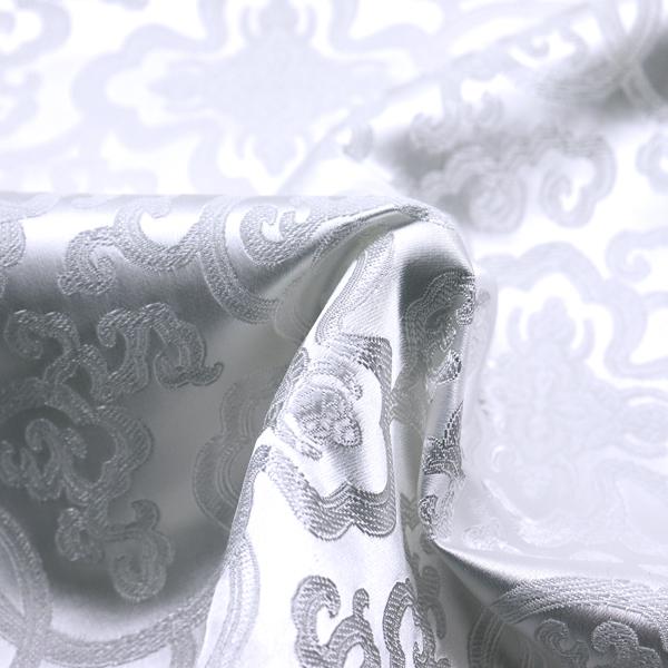 チャイナドレス生地 中国民族衣装生地 蓮と唐草 白
