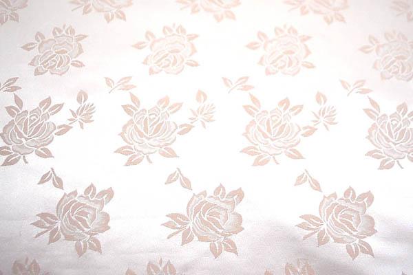 W巾のサテンジャガード 薔薇 薄いくすんだピンク
