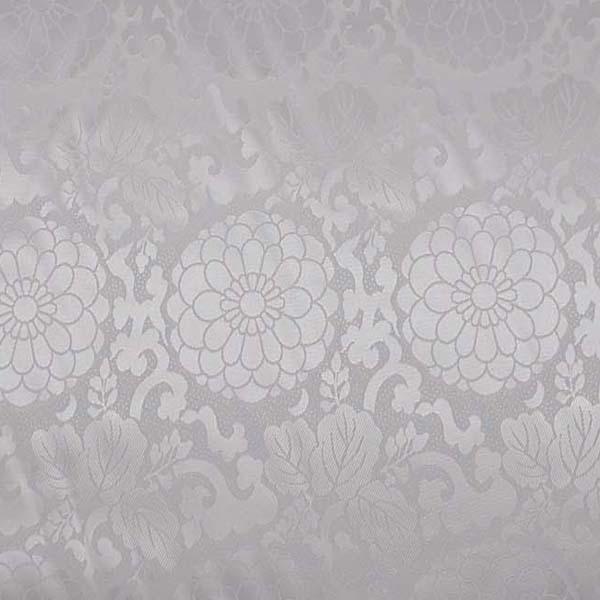 現物のみです ダブル幅のポリエステルサテンジャガード 菊文様 白