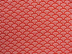 青海波文(せいがいはもん) 波文 波柄 波模様 和風ちりめん生地 赤色・レッド(0643-36)