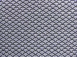 青海波文(せいがいはもん) 波文 波柄 波模様 和風ちりめん生地 紺色・ネイビー(0643-37)