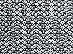 青海波文(せいがいはもん) 波文 波柄 波模様 和風ちりめん生地 黒色・ブラック(0643-38)