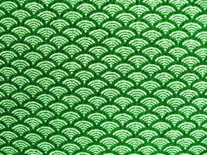 青海波文(せいがいはもん) 波文 波柄 波模様 和風ちりめん生地 緑色・グリーン(0643-39)