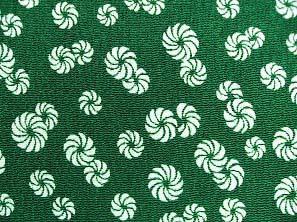 太陽の象徴 毛卍文 巻毛文 獅子舞の模様 レーヨンちりめん生地 緑色(0643-42)
