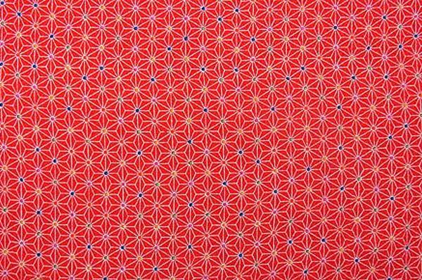 かわいい麻の葉の模様 レーヨンちりめん生地 麻の葉文 赤色 レッド(0643-53)