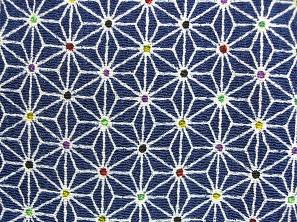 かわいい麻の葉の模様 レーヨンちりめん生地 麻の葉文 紺色 ネイビー(0643-56)