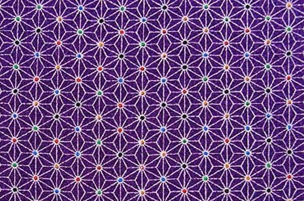 かわいい麻の葉の模様 レーヨンちりめん生地 麻の葉文 紫色 パープル(0643-57)