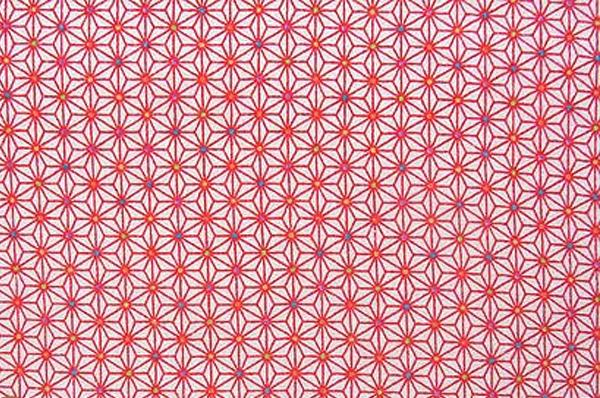 かわいい麻の葉の模様 レーヨンちりめん生地 麻の葉文 赤色 白地(0643-59)