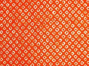 伝統的なちりめん生地 疋田文 鹿の子絞り 一目絞り 鹿の子しぼり かわいいオレンジ色(0643-71)