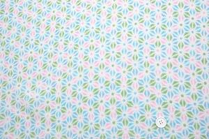 かわいい麻の葉の模様 レーヨンちりめん生地 水色 ピンク色 黄緑色(0643-94)