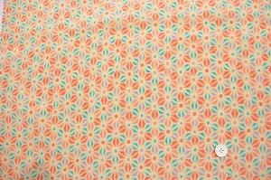 かわいい麻の葉の模様 レーヨンちりめん生地 オレンジ色 水色 藤色(0643-95)